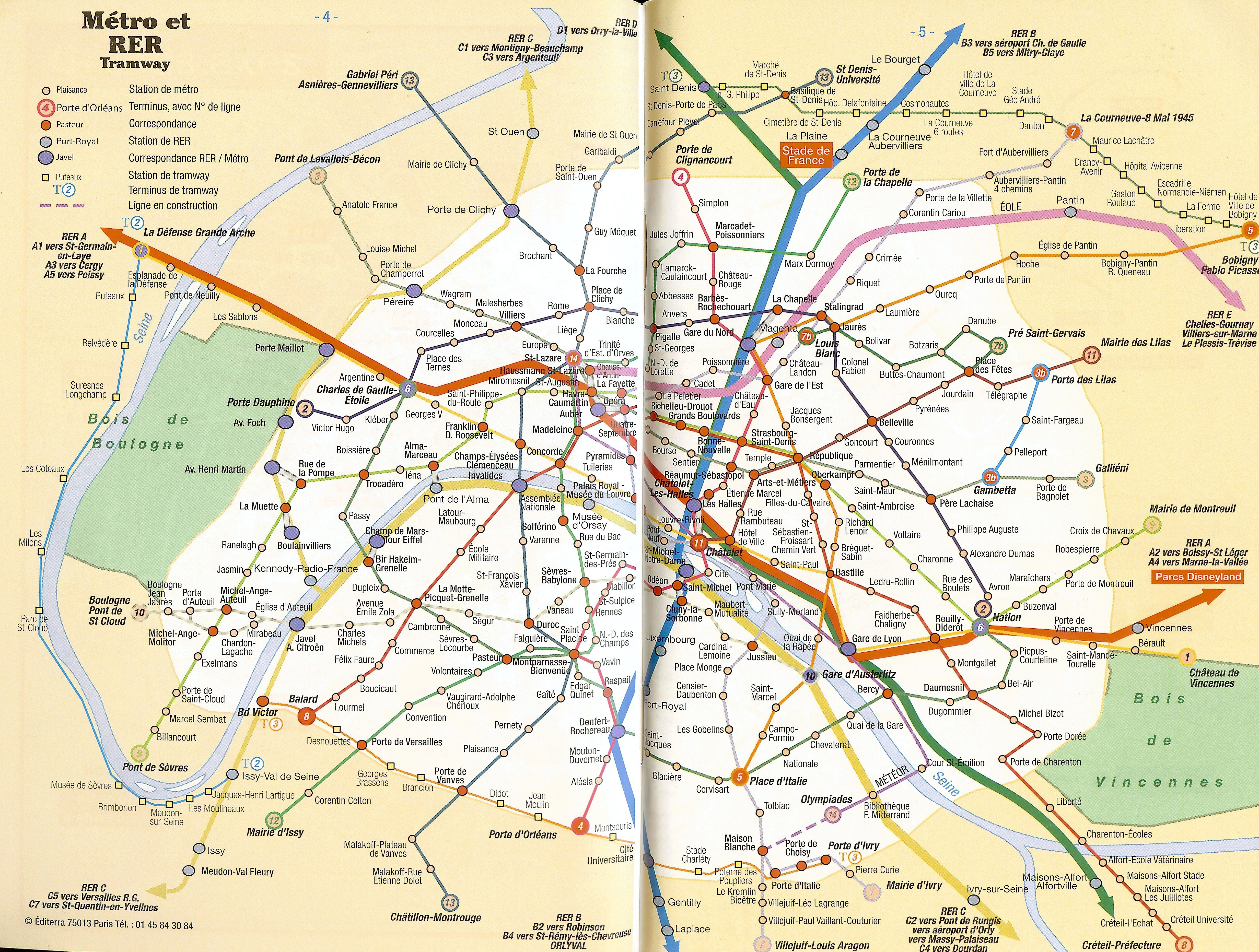 Large Scale Map Of France.Large Scale Metro Map Of Paris City Paris Large Scale Metro