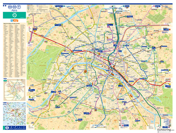 Large scale metro map of Paris city with roads.