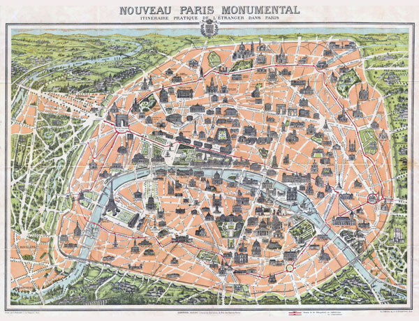 Large scale old map of Paris city - 1900.