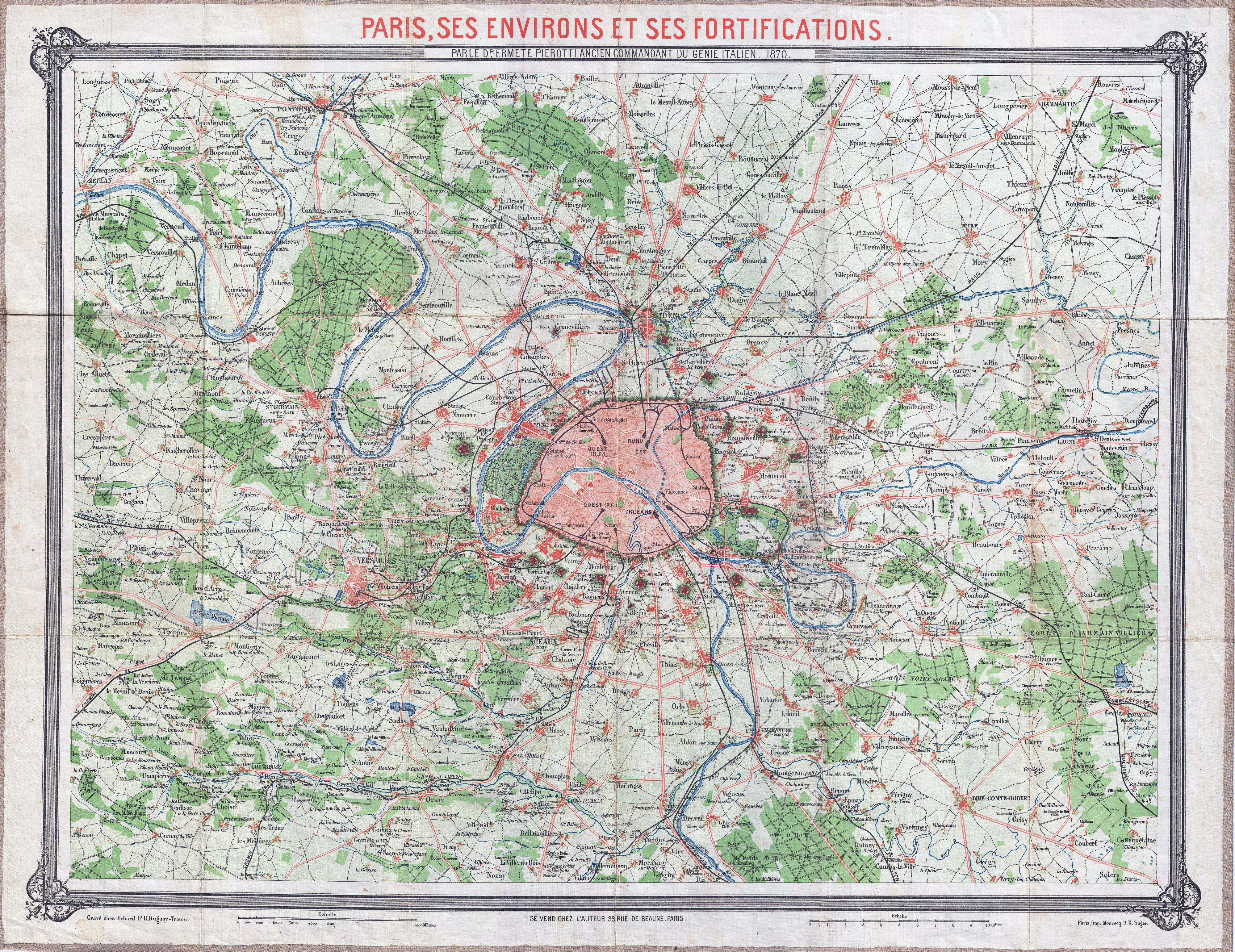 Large Scale Map Of France.Large Scale Old Map Of Paris City And Vicinity 1870