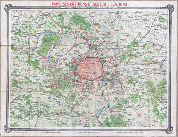 Large scale old map of Paris city and vicinity - 1870.