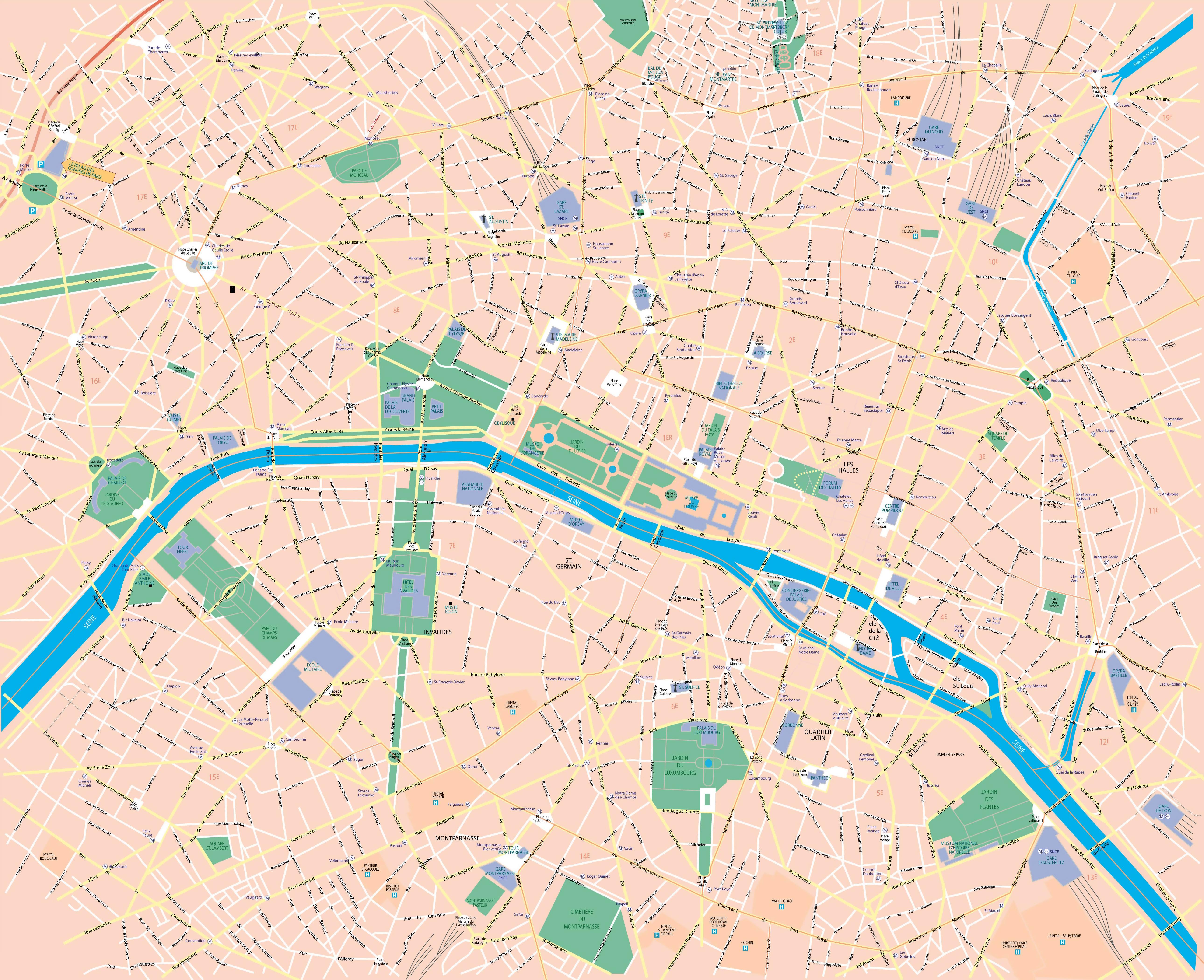 Large Scale Road Map Of Central Part Of Paris City Vidianicom - Paris road map