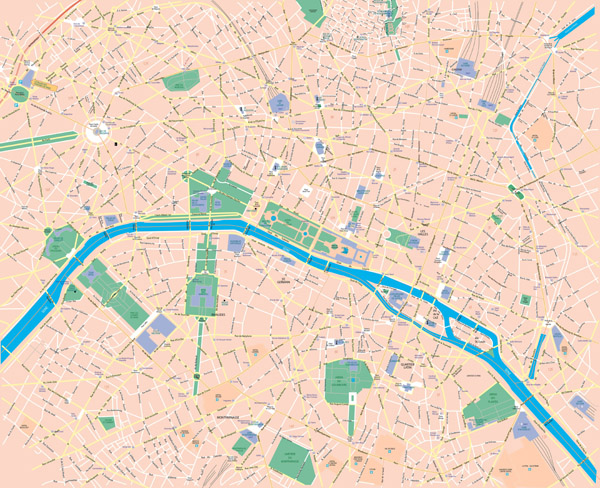 Large scale road map of central part of Paris city.