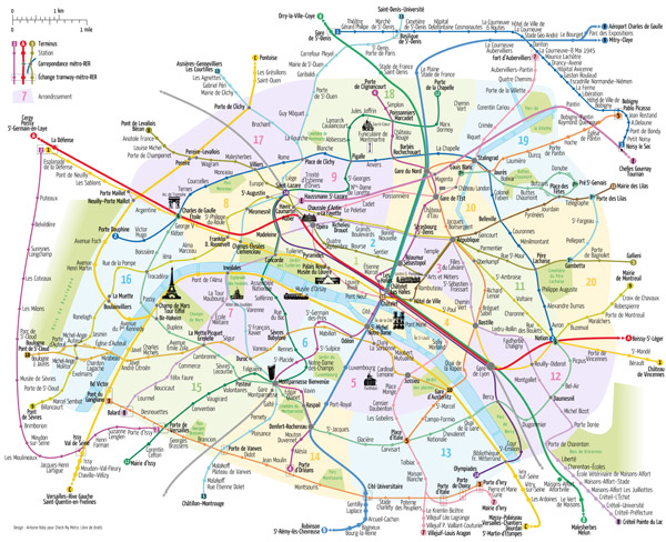 Large scale tourist attractions map of Paris city with metro lines.