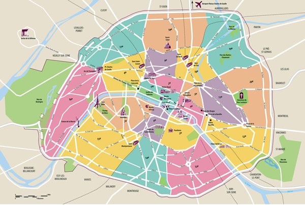 Large scale tourist map of Paris with administrative subdivisions.