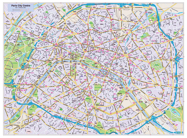 Road map of central part of Paris city.