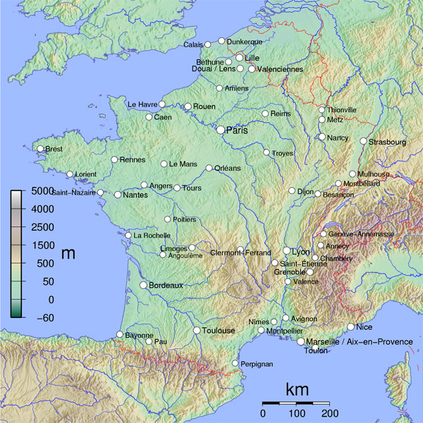 Physical map of France. France physical map.