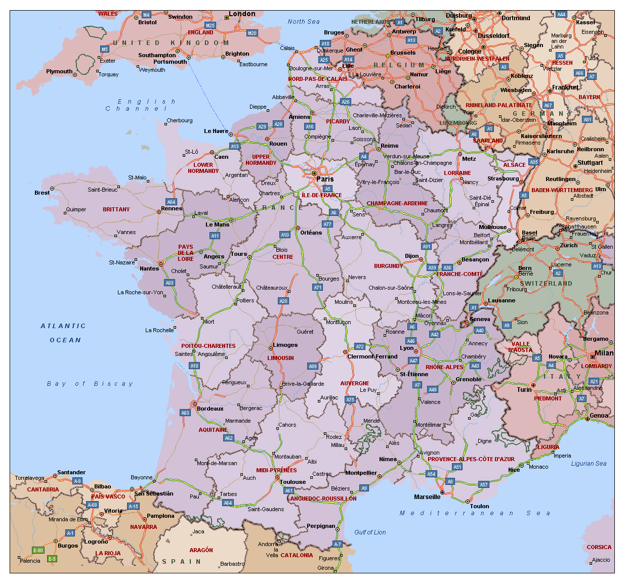 Political and administrative map of France with highways and major