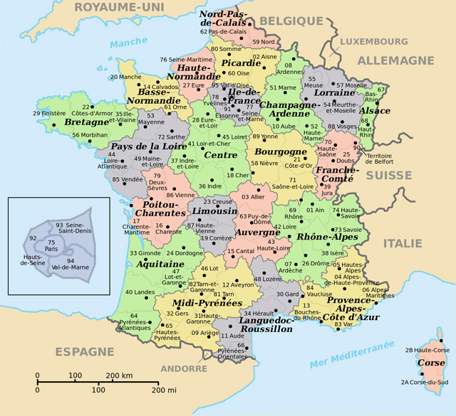 Small administrative map of France. France small administrative map.