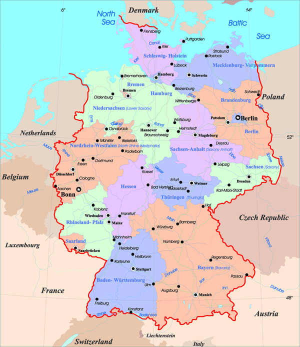 Administrative map of Germany. Germany administrative map.