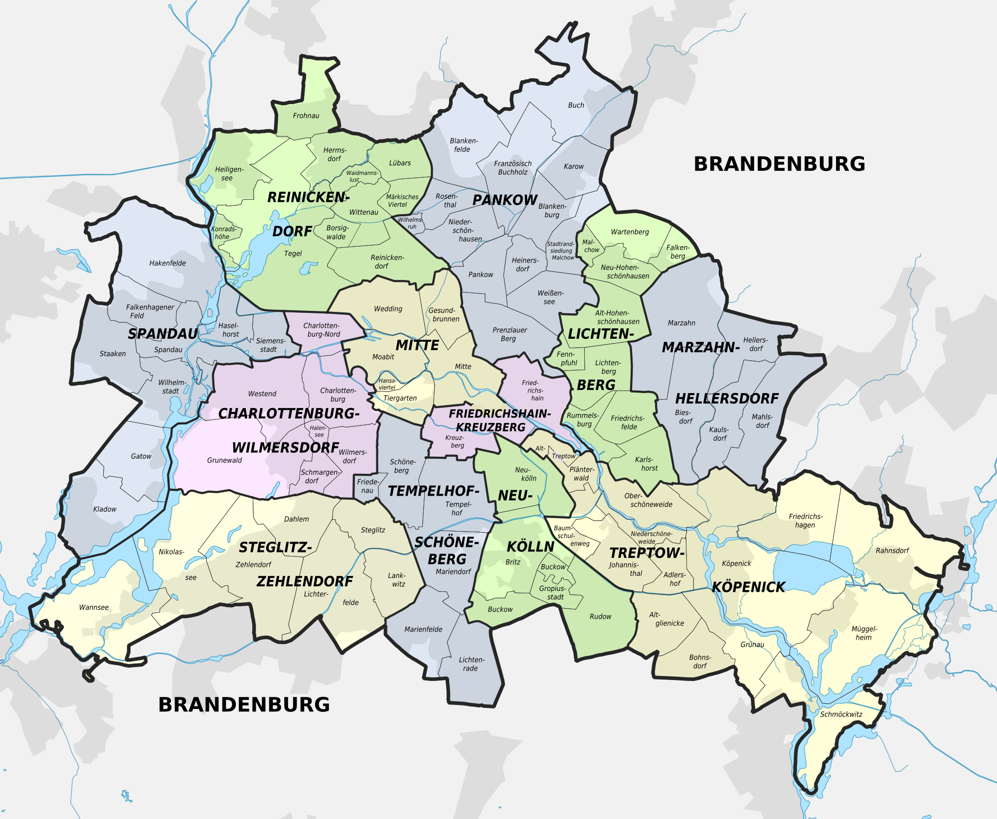 Large detailed administrative subdivisions map of Berlin city
