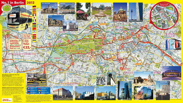 Large detailed bus tour map of Berlin city.