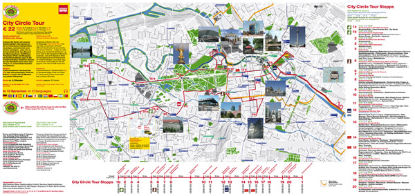 Large detailed city circle tour map of Berlin city.