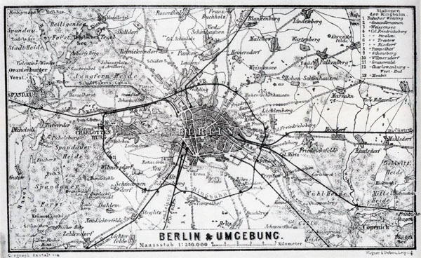 Large detailed old map of Berlin city area - 1885.