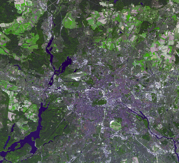 Large detailed satellite map of Berlin city.