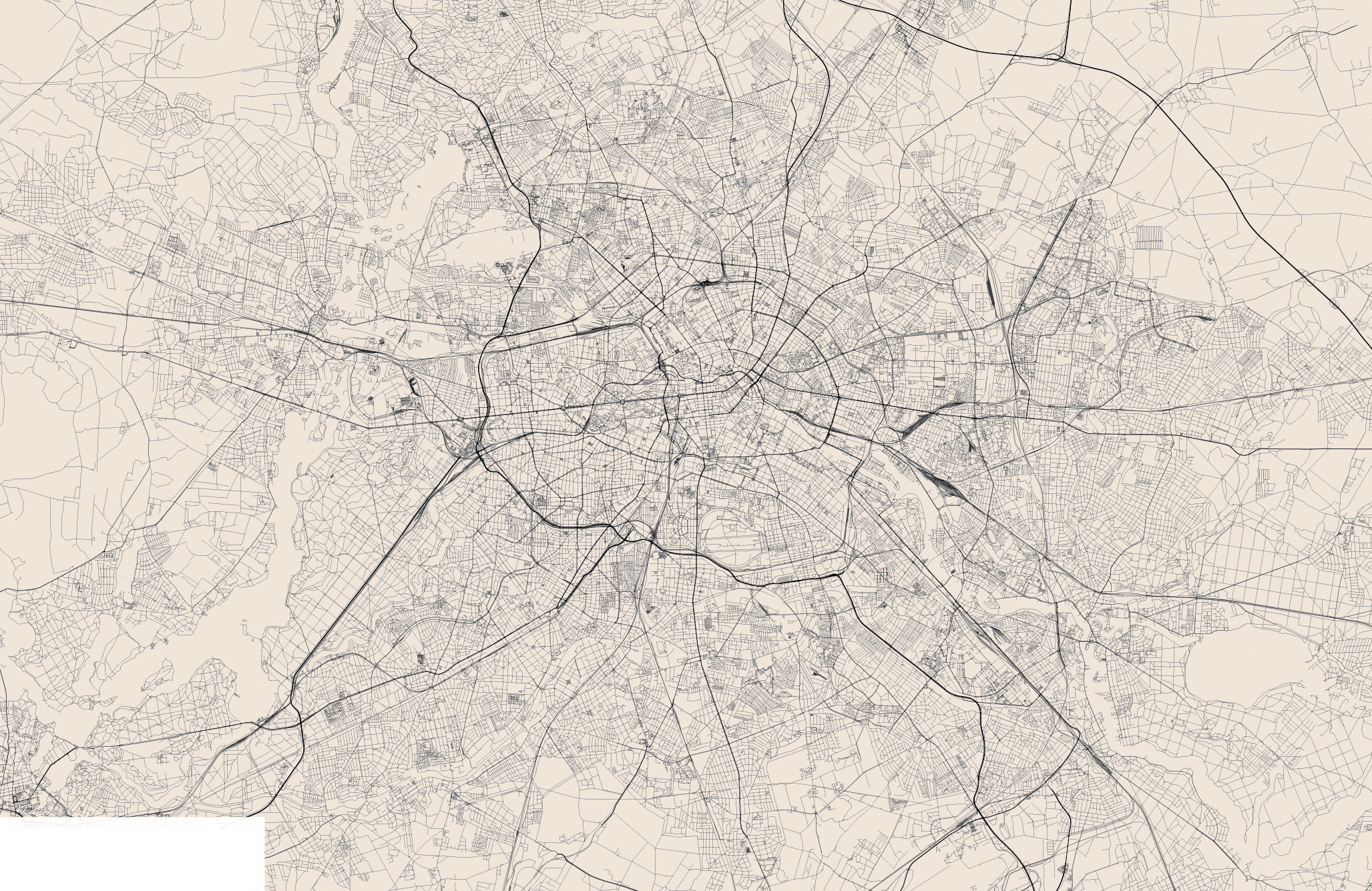 Large detailed streets map of Berlin city Berlin large detailed