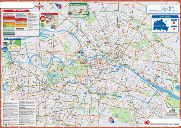 Large detailed top tourist attractions map of Berlin city.