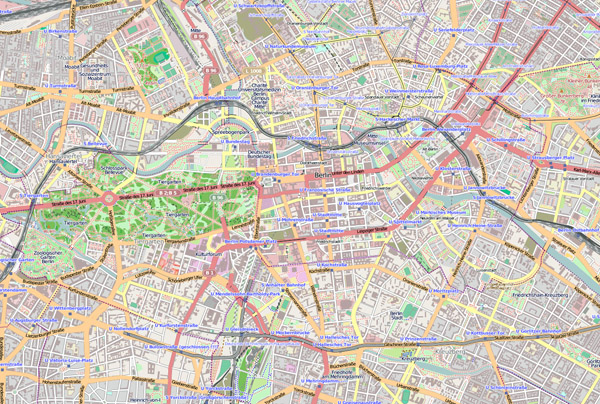 Large road map of central part of Berlin city.