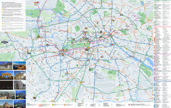 Large scale tourist map of Berlin city. Berlin large scale tourist map.
