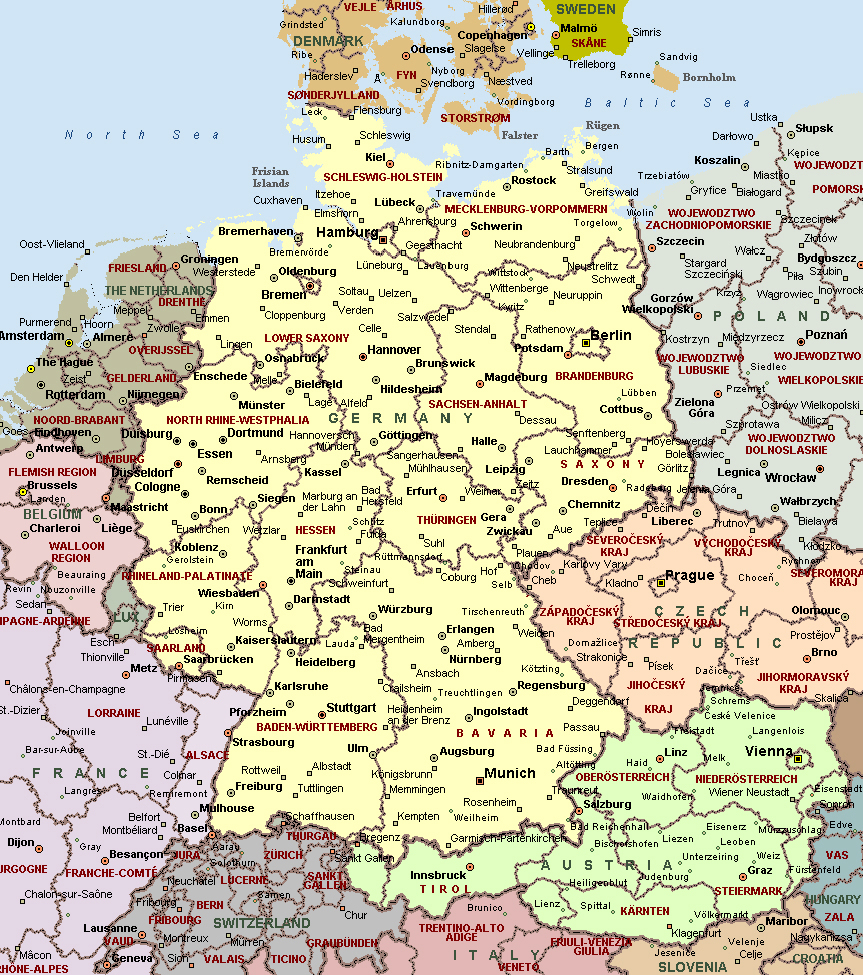 Cities of Germany on detailed map. Detailed map of cities of ...