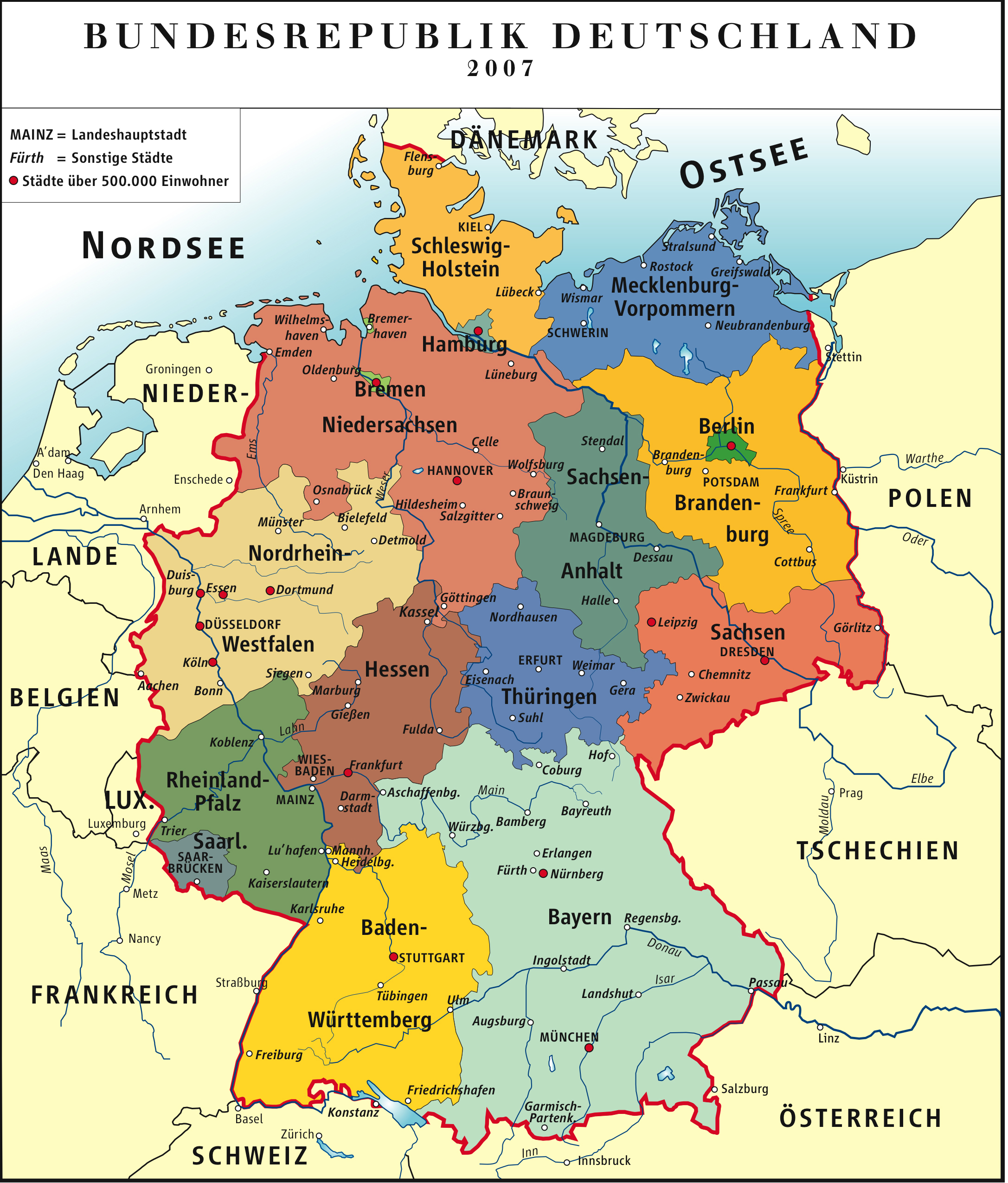 Administrative map of germany germany detailed administrative map