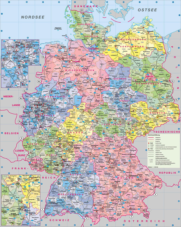 Large detailed administrative map of Germany with roads and cities.