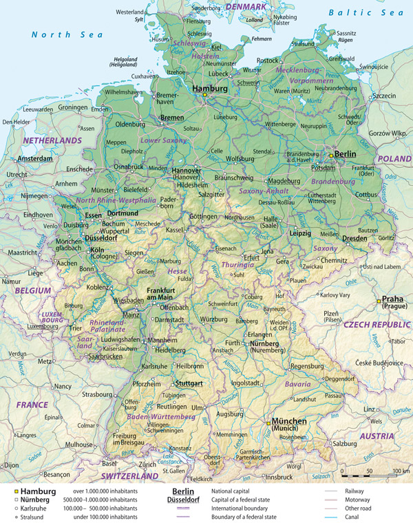 Large detailed general and relief map of Germany with cities and roads.