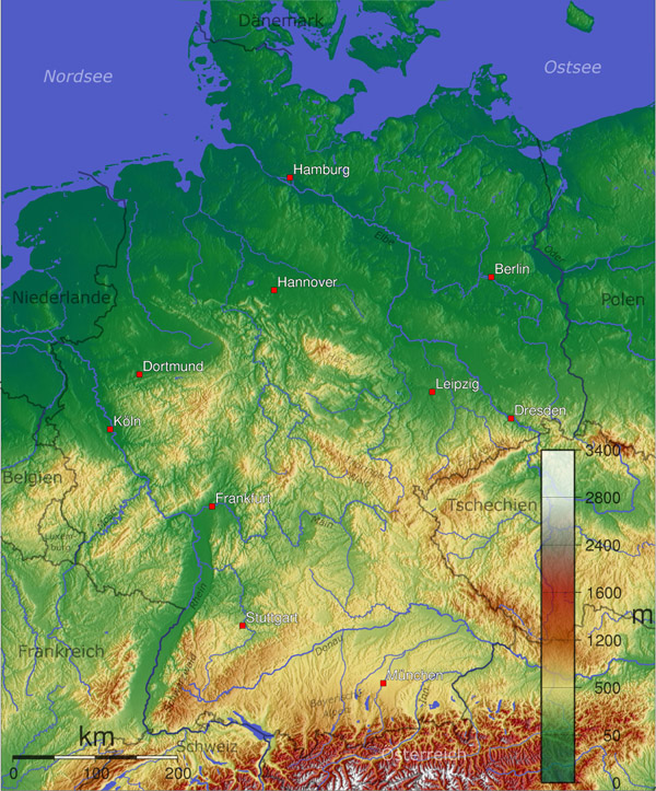 Large detailed physical map of Germany.