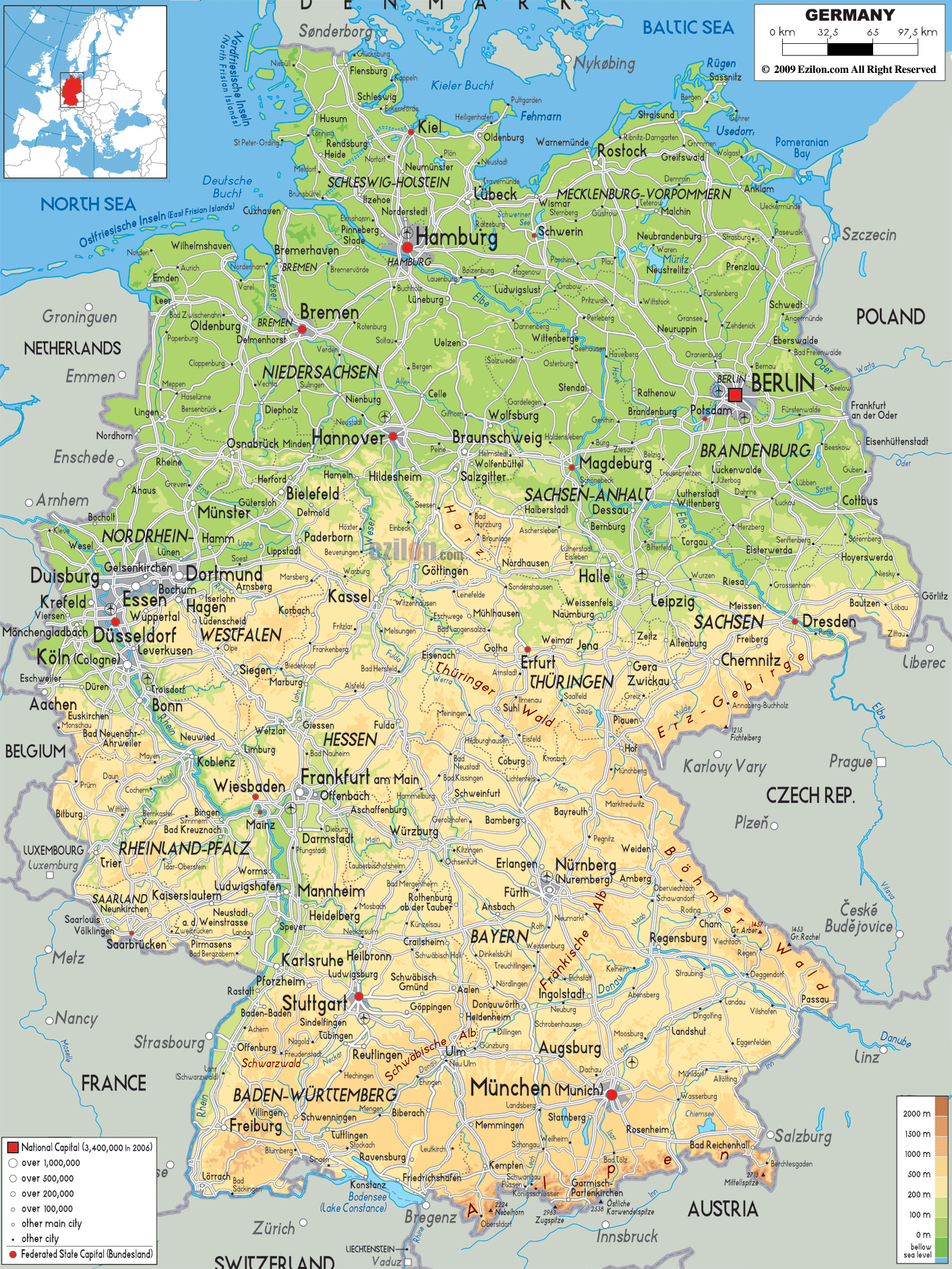 Large detailed physical map of Germany with all cities roads and