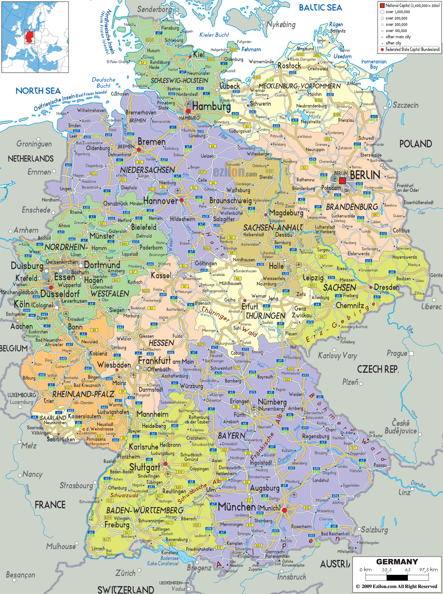 Large Detailed Political And Administrative Map Of Germany With - Germany map airports