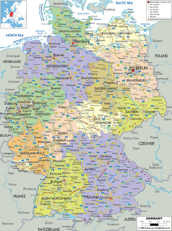 Large detailed political and administrative map of Germany with all cities, roads and airports.