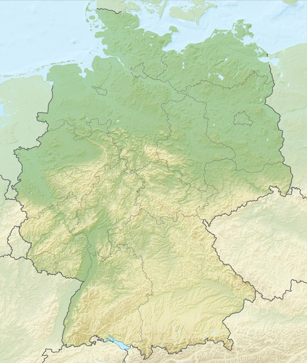Large detailed relief map of Germany. Germany large detailed relief map.