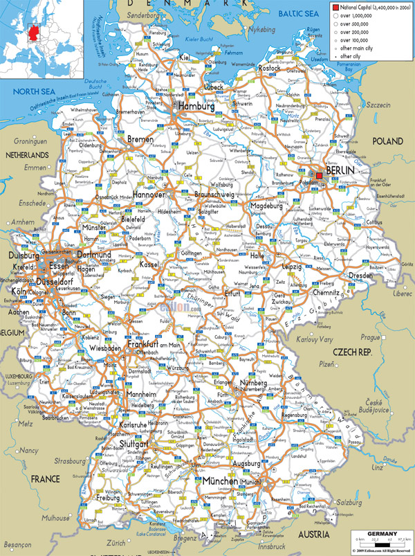 Large detailed road map of Germany with all cities and airports.