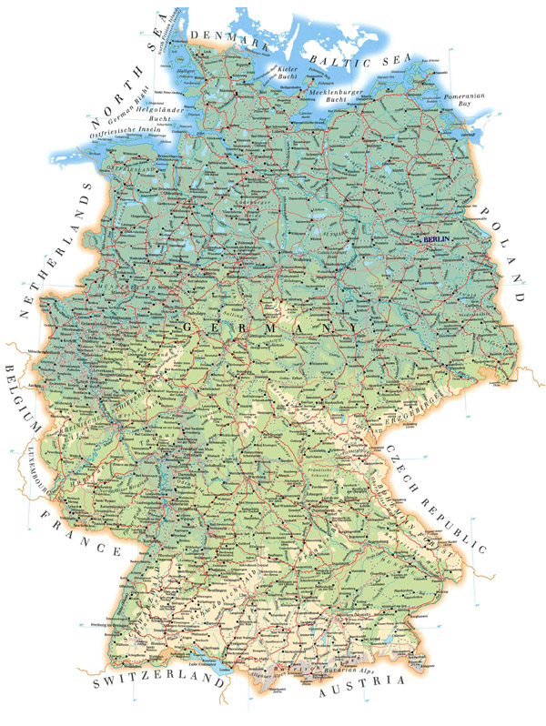 Large detailed road map of Germany with all cities, villages and airports.