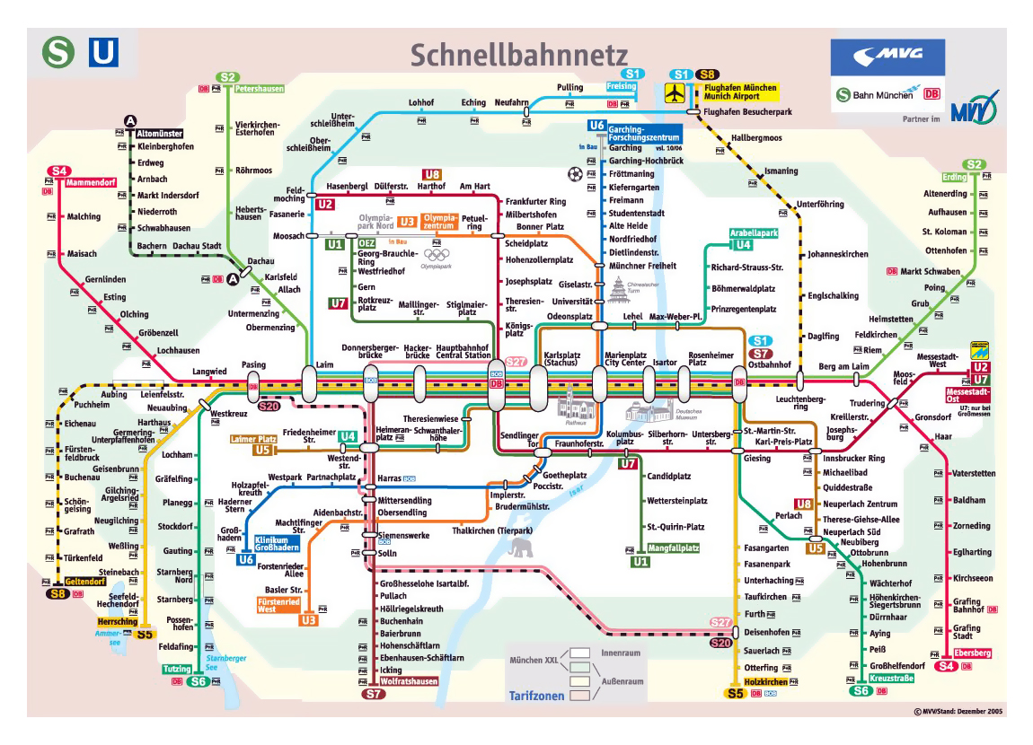 Detailed public transport system map of Munich city Vidianicom