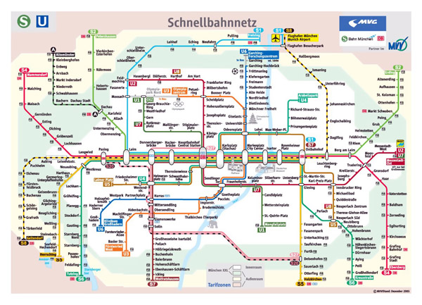 Detailed public transport system map of Munich city.