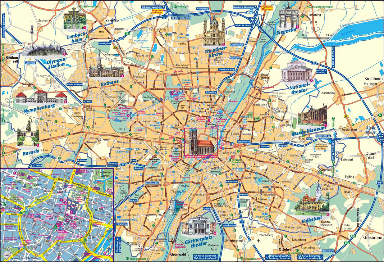 Detailed tourist map of Munich city Munich detailed tourist map – Munich City Map Tourist