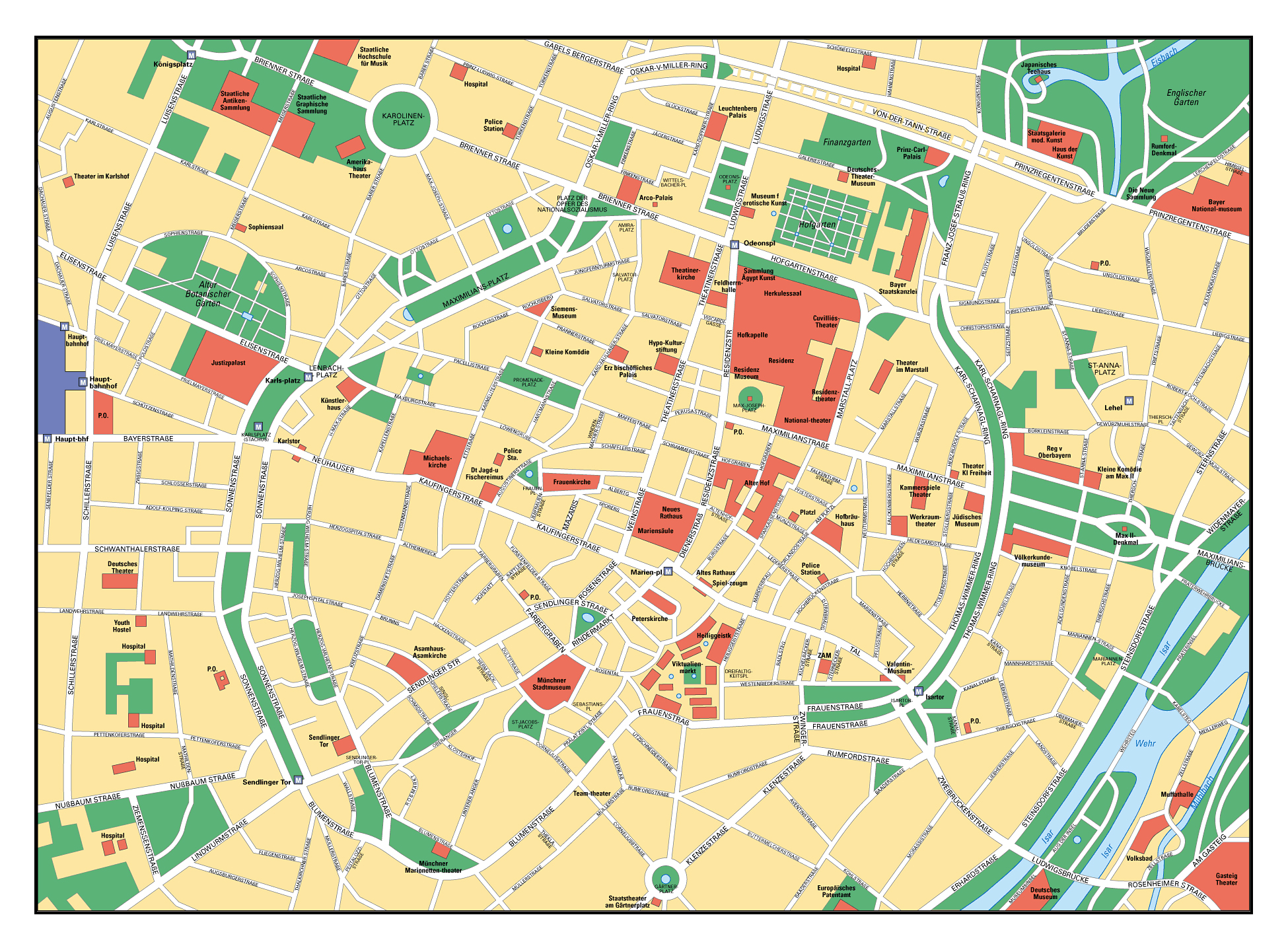 Large detailed map of central part of Munich city | Vidiani.com ...