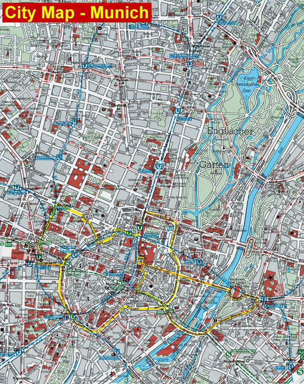 Large detailed map of Munich city. Munich large detailed map.
