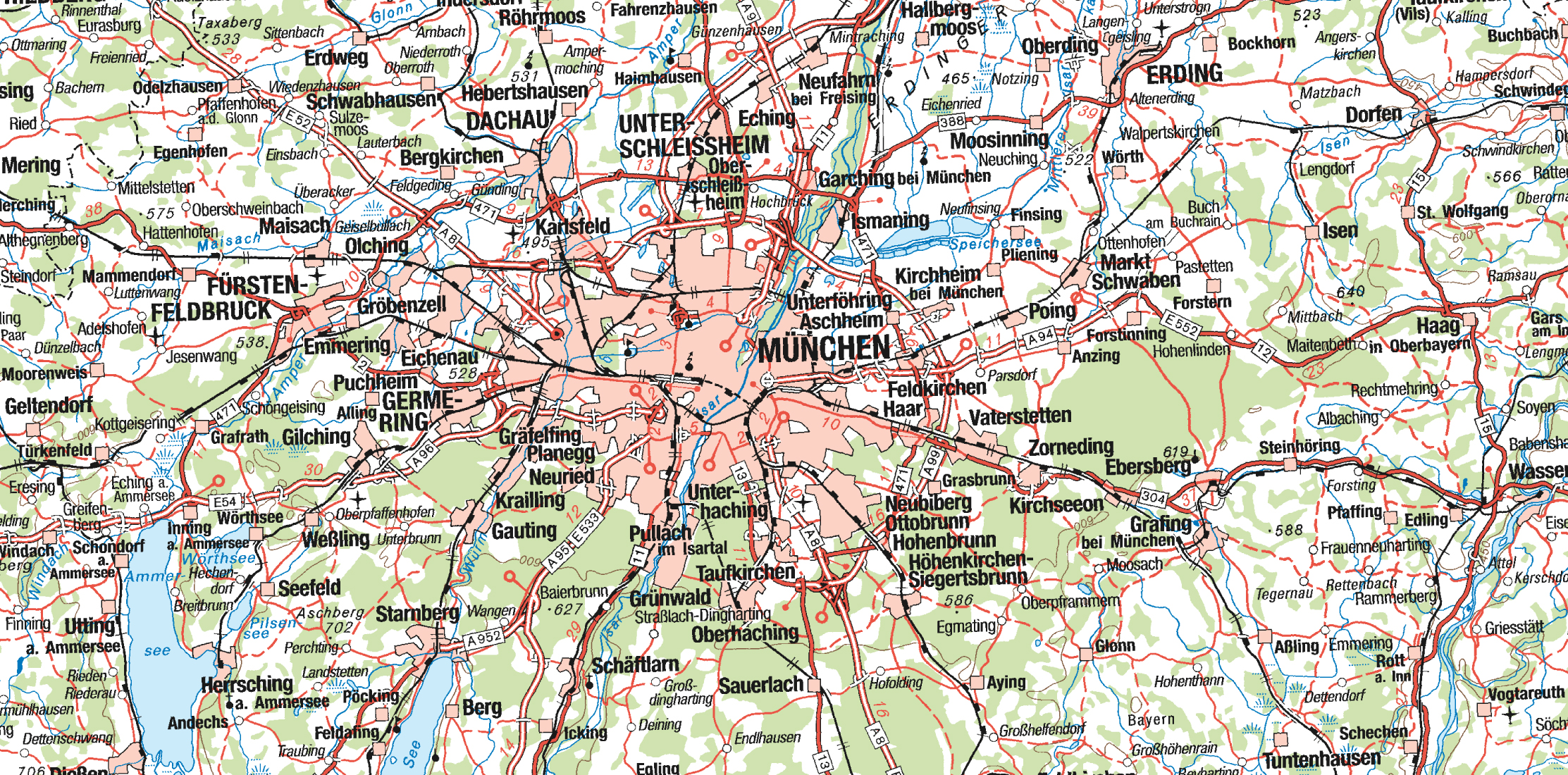 Large detailed map of Munich city region Vidianicom Maps of all
