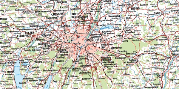 Large detailed map of Munich city region.