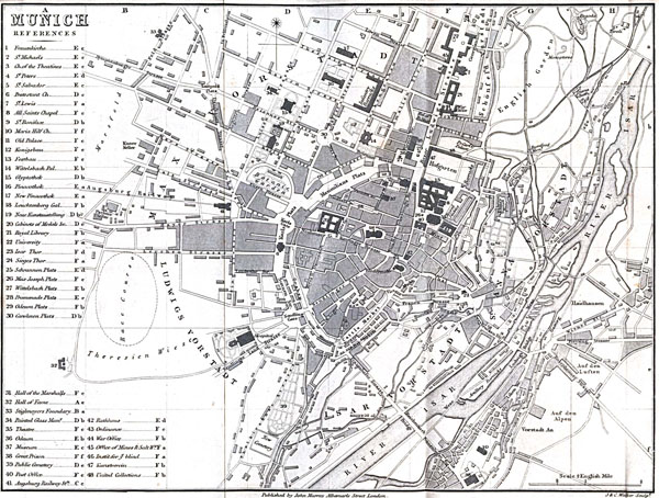 Large detailed old map of Munich city - 1858.