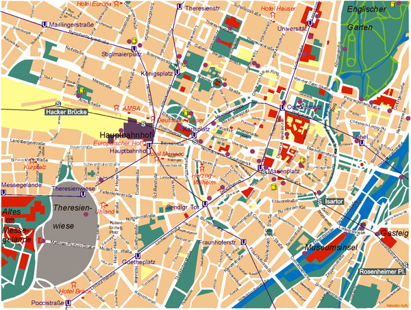 Large detailed road map of central part of Munich city.