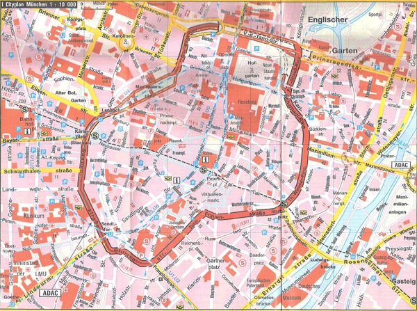 Large detailed tourist map of central part of Munich city.