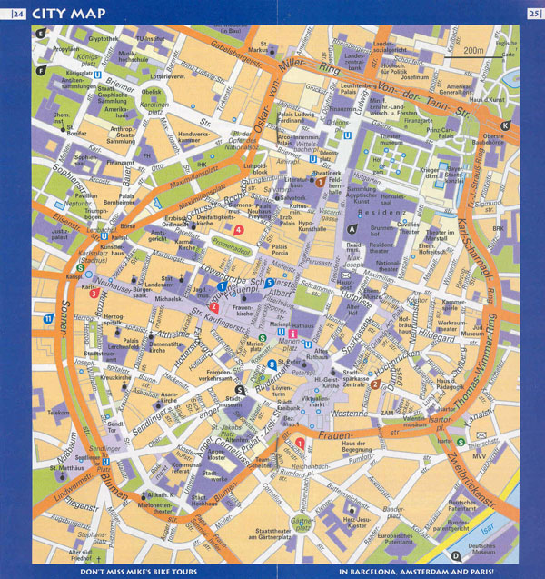 Large detailed travel map of central part of Munich city.