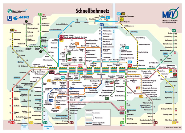 Large public transport network map of Munich city.
