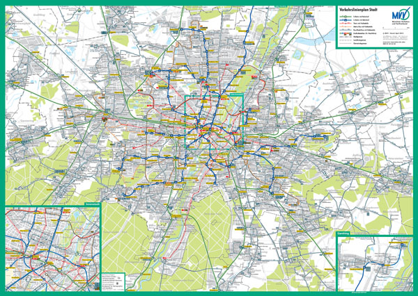 Large scale detailed public transport network map of Munich city - 2006.