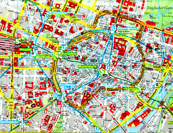 Large scale detailed road and tourist map of central part of Munich.