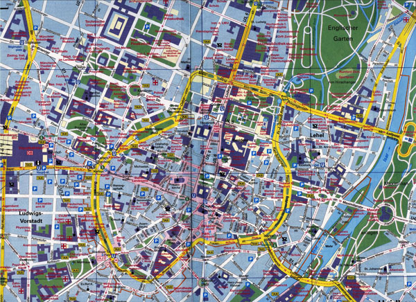 Large scale road map of Munich city center.
