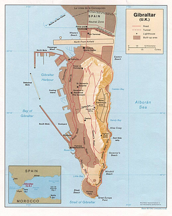 Detailed map of Gibraltar. Gibraltar detailed map.